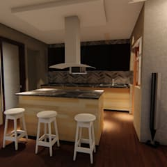 CASA ARBOLEDAS-MONTES DE OCA: Muebles de cocinas de estilo  por RUBIO + TOVAR ARQUITECTOS