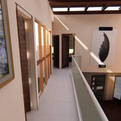 CASA ARBOLEDAS-MONTES DE OCA: Pasillos y recibidores de estilo  por RUBIO + TOVAR ARQUITECTOS