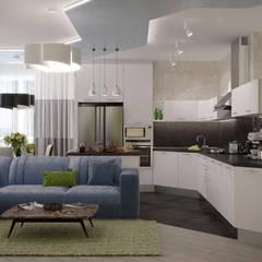 """Дизайн кухни-гостиной в стиле модернизм в квартире в ЖК """"7 континент"""", г.Краснодар: Кухни в . Автор – Студия интерьерного дизайна happy.design"""