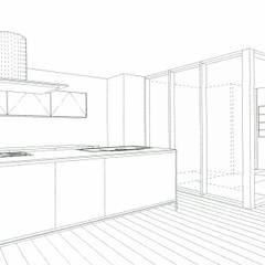 スケッチ:ダイニングキッチン: 中浦建築事務所が手掛けたシステムキッチンです。