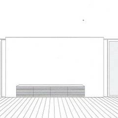 スケッチ:リビング: 中浦建築事務所が手掛けたシステムキッチンです。