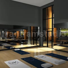 Group Fitness Gym Wood Floor Rendering Design Ideas: classic Gym by Yantram Architectural Design Studio
