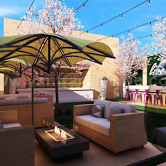 Aminities Area Renderings of Modern Community Apartment by Yantram interior design firms San Diego, USA:  Roof terrace by Yantram Architectural Design Studio