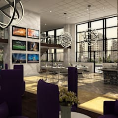Social Lounge 3d Rendering Design Ideas:  Dining room by Yantram Architectural Design Studio