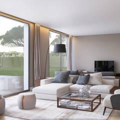Bloom Marinha, Cascais: Salas de estar  por DZINE & CO, Arquitectura e Design de Interiores
