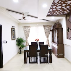 Elegant 3BHK Interior Design at Prestige Bella Vista:  Dining room by Interios by MK Design