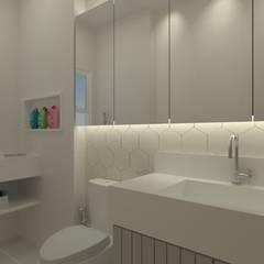 INTERIORES | APARTAMENTO R+F: Banheiros minimalistas por GABRIELA GUERREIRO | ARQUITETURA
