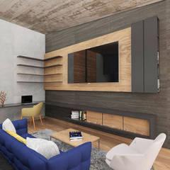 Casa RD: Salas multimedia de estilo moderno por emARTquitectura