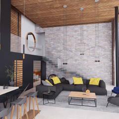 Casa RD: Salas de estilo  por emARTquitectura