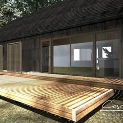 Fachada: Terrazas  de estilo  por casa rural - Arquitectos en Coyhaique