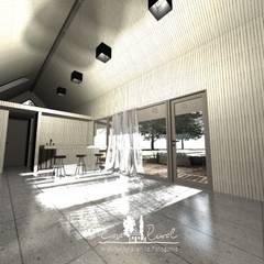 Diseño de Casa Modular Térmica en Coyhaique y Región de Aysén: Livings de estilo  por casa rural - Arquitectos en Coyhaique, Rural
