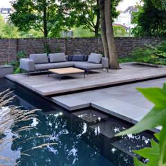 Swimming Pool mit schwebendem Sitzplatz vor einer historischen Gartenmauer unter einem Großbaum: moderner Garten von Terramanus Landschaftsarchitektur