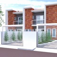 Projeto  de casas geminadas: Casas geminadas  por Jr Arquitetura + interiores