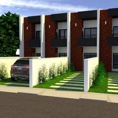 Projeto de sobrado geminado: Casas geminadas  por Jr Arquitetura + interiores