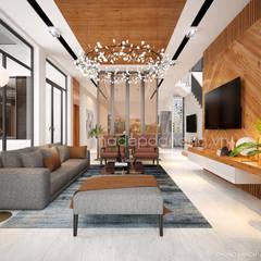Thiết kế biệt thự hiện đại 3 tầng:  Phòng khách by AVA Architecture