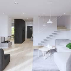 White and bright house interior. : styl , w kategorii Schody zaprojektowany przez SARNA ARCHITECTS   Interior Design Studio