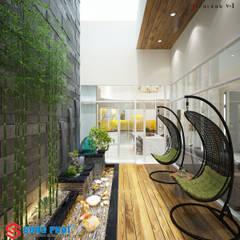 Choáng Ngợp Với Sự Lung Linh Của Thiết Kế Biệt Thự Phố Ở Long An:  Flur & Diele von Công ty thiết kế xây dựng Song Phát