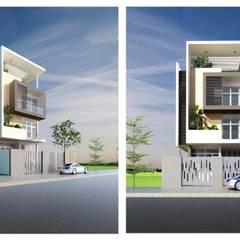 mặt tiền nhà phố hiện đại:  Nhà gia đình by CÔNG TY THIẾT KẾ NHÀ ĐẸP SANG TRỌNG