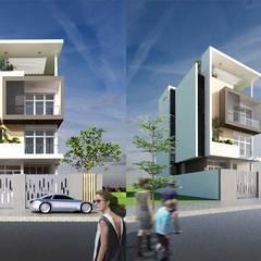 kiến trúc nhà phố hiện đại:  Nhà có sân thượng by CÔNG TY THIẾT KẾ NHÀ ĐẸP SANG TRỌNG