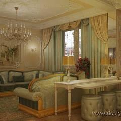 Интерьер роскошной гостиной в классическом стиле: Гостиная в . Автор – студия Design3F