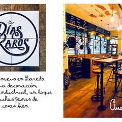 """Rótulo pintado a mano  para restaurante """"Los Días Rarosa"""": Bares y Clubs de estilo  de Artelux"""