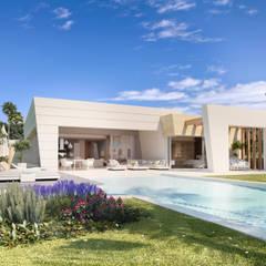 4 VILLAS EN ROCÍO DE NAGÜELES, MARBELLA: Villas de estilo  de G&J ARQUITECTURA