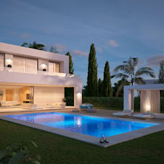 VIVIENDA UNIFAMILIAR EN LA CALA DE MIJAS: Villas de estilo  de G&J ARQUITECTURA