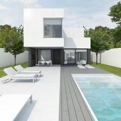 Vivienda PASSIVHAUS Villalbilla (Madrid). Casa Lukas. Piscina.: Casas unifamilares de estilo  de DMDV Arquitectos