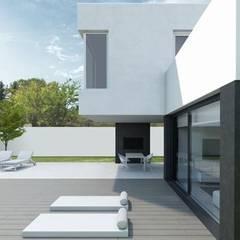Vivienda PASSIVHAUS Villalbilla (Madrid). Casa Lukas. Terraza.: Casas unifamilares de estilo  de DMDV Arquitectos
