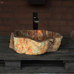 Petrified wood sink - Petrified wood wash basin / Fossil wood wash basin - Fossil wood sinks:  Bathroom by Lux4home™ Indonesia