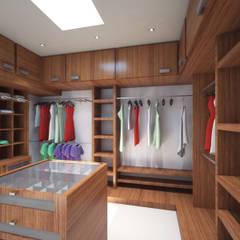 Residencia Marquesa Animas Xalapa Veracruz: Vestidores y closets de estilo  por CouturierStudio