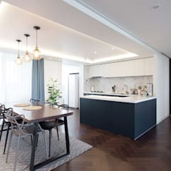 대전인테리어 신동아파밀리에 45평 아파트 탑층 인테리어: 디자인투플라이의  다이닝 룸,북유럽