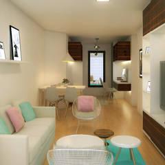 Departamento en colores pasteles Salas modernas de Mauriola Arquitectos Moderno