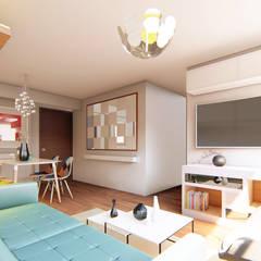 Diseño interior Departamento de 16m2: Salas / recibidores de estilo  por Mauriola Arquitectos