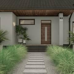Strefa wejściowa ogrodu: styl , w kategorii Ogród zaprojektowany przez STTYK Pracownia Architektury Wnętrz i Krajobrazu