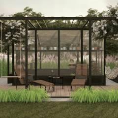 Taras wypoczynkowy I szklarnia z pergolą : styl , w kategorii Ogród zaprojektowany przez STTYK Pracownia Architektury Wnętrz i Krajobrazu