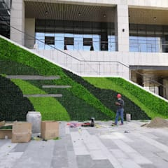 Unsightly wall covering with artificial hedges plants:  Office buildings by Sunwing Industries Ltd