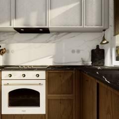 PROJEKT ELEGANCKIEGO NOWOCZESNEGO WNĘTRZA W GDYNI - Projekt kuchni: styl , w kategorii Kuchnia zaprojektowany przez STTYK - Pracownia Architektury Wnętrz i Krajobrazu