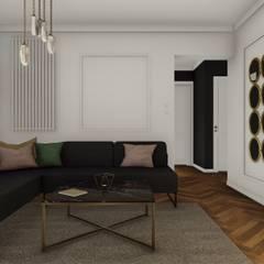 PROJEKT ELEGANCKIEGO NOWOCZESNEGO WNĘTRZA W GDYNI - Projekt salonu: styl , w kategorii Salon zaprojektowany przez STTYK - Pracownia Architektury Wnętrz i Krajobrazu
