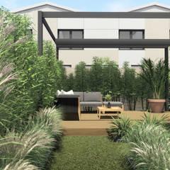 Projekt ogrodu przy zabudowie szeregowej, Gdynia Mały Kack, Osiedle Merano Park: styl , w kategorii Ogród zaprojektowany przez STTYK Pracownia Architektury Wnętrz i Krajobrazu