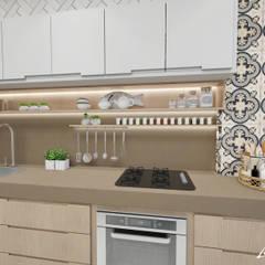 ÁREA GOURMET E PISCINA: Cozinhas embutidas  por LARISSA REIS ARQUITETURA