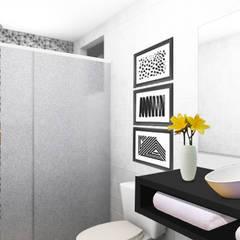 Casa Souza Ribeiro: Banheiros minimalistas por POLI Arquitetura