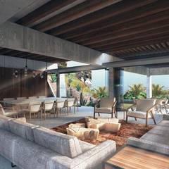 Casa Primavera: Salas de estilo  por HDA: ARQUITECTURA BIOCLIMATICA