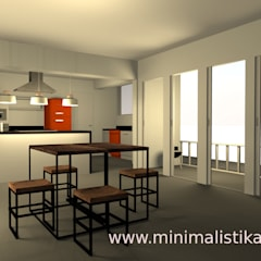 Sala comedor y cocina integrada - San Isidro-Lima Comedores industriales de Minimalistika.com Industrial Madera maciza Multicolor