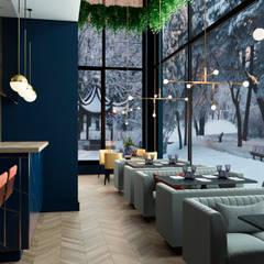 1 этаж. Обеденный зал_Проект дизайн ресторана, Москва, 173м2, Дизайнер Светлана Капустина: Ресторации в . Автор – SK Interiors studio