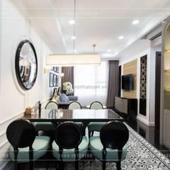 Toàn cảnh thực tế căn hộ THE TRESOR trong thiết kế nội thất Indochine:  Phòng ăn by ICON INTERIOR