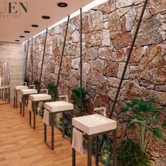 MUSA HOTEL: Baños de estilo  por Stuen Arquitectos, Rústico Piedra