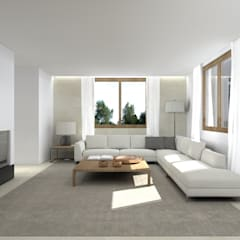 Una villa minimal ed elegante a Udine : Soggiorno in stile in stile Minimalista di interiorbe SRL
