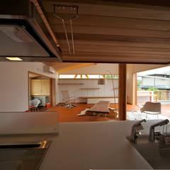 キッチンよりリビングをみる: 株式会社高野設計工房が手掛けたシステムキッチンです。