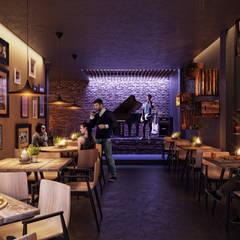 Planta alta (canta-bar): Bares y discotecas de estilo  por TACTIL Arquitectura